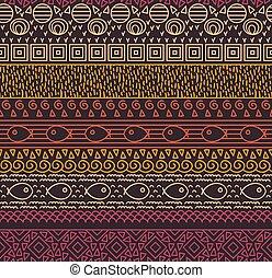 dekoracyjny, dekoracyjny, próbka, plemienny, seamless, tekstylny, vector., etniczny, pasiasty, fish, krajowiec