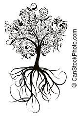 dekoracyjny, drzewo, wektor, ilustracja