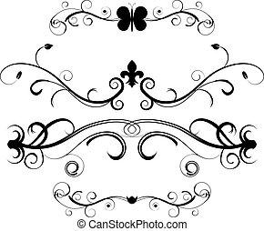 dekoracyjny, dzielący, komplet, strona