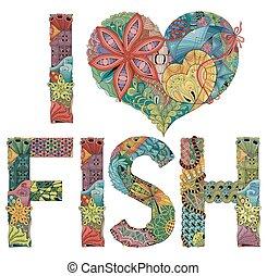 dekoracyjny, fish., miłość, obiekt, wektor, słówko, zentangle