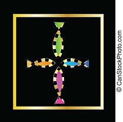 dekoracyjny, fish, wektor, krzyż