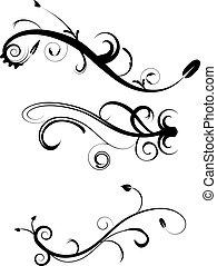 dekoracyjny, flourishes, komplet, 2