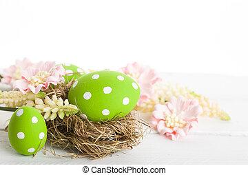 dekoracyjny, gniazdo, pisanki