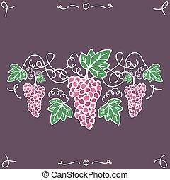 dekoracyjny, hand-drawn, vine., winogrona, dojrzały