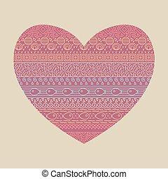 dekoracyjny, heart., próbka, fish, seamless, valentine, tekstylny, formułować, vector., etniczny, druk, pasiasty, karta