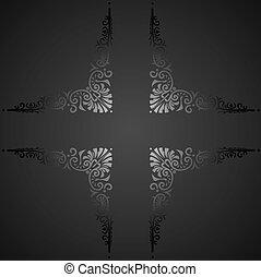 dekoracyjny, illustration., banner., rocznik wina, wektor, ozdobny