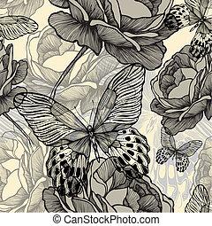 dekoracyjny, illustration., próbka, motyle, seamless, róże, wektor, rozkwiecony, dziki, hand-drawing.