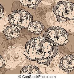 dekoracyjny, illustration., próbka, seamless, wektor, roses.