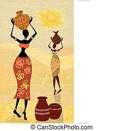 dekoracyjny, kobieta, krajobraz, afrykanin
