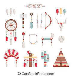 dekoracyjny, komplet, indianin, elements., łapacz, pierze, plemienny, strzały, szef, wektor, amerykanka, symbols., sen, etniczny, barwny, style., fryzura, krajowiec