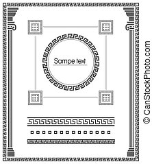 dekoracyjny, komplet, wektor, borders., elementy, meandry
