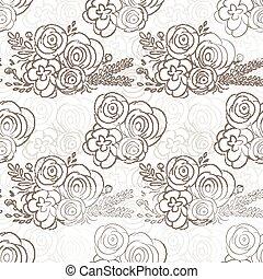 dekoracyjny, kwiat, rocznik wina, seamless, ilustracja, ręka, flowers., wektor, delikatny, próbka, pociągnięty