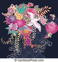 dekoracyjny, kwiatowy, kimono, motyw