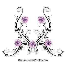 dekoracyjny, kwiatowy, ozdoba