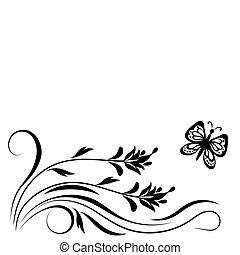dekoracyjny, kwiatowy, ozdoba, róg