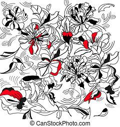 dekoracyjny, kwiatowy, tło