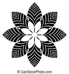 dekoracyjny, kwiatowy zamiar, pattern., element.