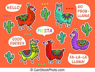 dekoracyjny, lama, alpaka, set., barwny, wektor, dziecinny, łaty