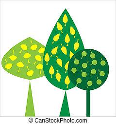 dekoracyjny, liście, drzewa, zielone tło, biały