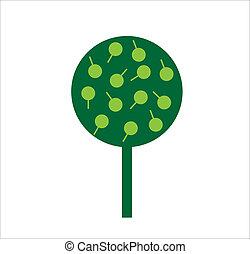 dekoracyjny, liście, drzewo, zielone tło, biały