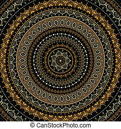 dekoracyjny, mandala., indianin, pattern.