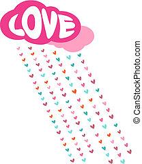 dekoracyjny, miłość, list miłosny, -, deszcz, wektor, dzień, karta