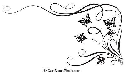 dekoracyjny, motyl, ozdoba, kwiatowy, róg, kwiaty