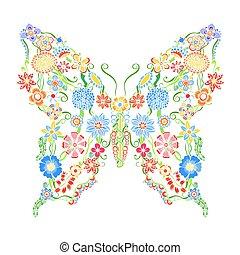 dekoracyjny, motyl, ozdobny