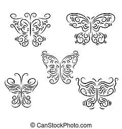dekoracyjny, motyle, komplet, piękny, graficznie
