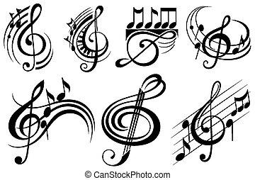 dekoracyjny, notatki, muzyka