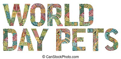dekoracyjny, obiekt, dzień, wektor, zentangle, świat, pets.