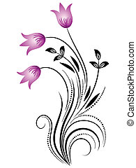 dekoracyjny, ozdoba, kwiatowy