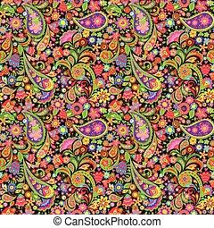 dekoracyjny, paisley, barwny, turecki, próbka, tapeta, ...