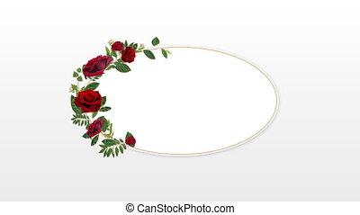 dekoracyjny, przestrzeń, róża, czerwony, kopia, zdejmować...