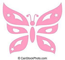 dekoracyjny, różowy, motyl