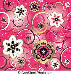 dekoracyjny, różowy, (vector), próbka, seamless, kwiatowy