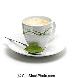 dekoracyjny, roślina, dobry, filiżanka, stevia, kawa, tło, brzeg, strona