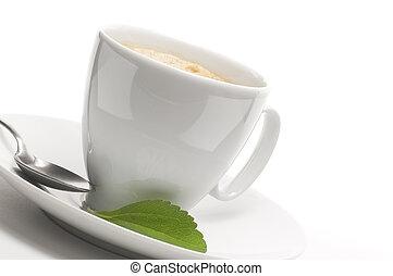 dekoracyjny, roślina, filiżanka, stevia, kawa, tło, brzeg, strona, lewa strona