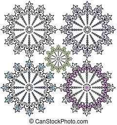 dekoracyjny, rocznik wina, projektować, płatki śniegu, (vector)