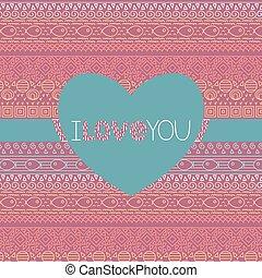dekoracyjny, romansowe serce, próbka, fish, etniczny, forma., seamless, vector., tekst, pasiasty, valentine, ty, karta