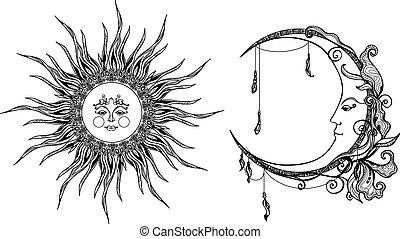 dekoracyjny, słońce, księżyc
