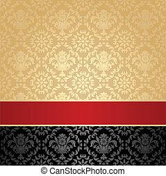 dekoracyjny, seamless, próbka, tło, czerwony, kwiatowy, wstążka