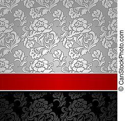 dekoracyjny, seamless, wstążka, tło, srebro, czerwony