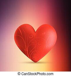dekoracyjny, serce, list miłosny, tło, plama, dzień