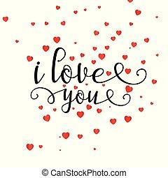 dekoracyjny, serce, valentine, tekst, tło, dzień