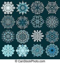 dekoracyjny, set., wektor, płatki śniegu