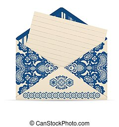dekoracyjny, sprytny, koperta, otwarty, letter.