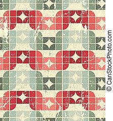 dekoracyjny, squar, seamless, używany, tekstylny, wektor, próbka, geometryczny