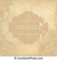 dekoracyjny, stary, rocznik wina, ilustracja, papier, tło., wektor, sędziwy