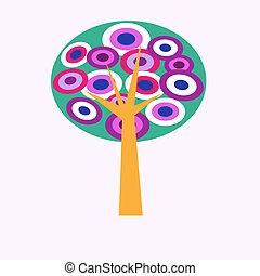 dekoracyjny, stylizowany, drzewo